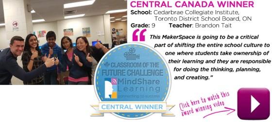 Central Winner was awarded to Brandon Tait of Cedarbrae Collegiate Institute in the Toronto District School Board.